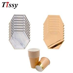 Image 5 - Os utensílios de mesa descartáveis ouro rosa imitação placa de mármore dourado palhas de papel/decoração cuptable casamento/aniversário/festa suprimentos