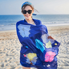 hot deal buy leayh new fashion long 180*90cm faux silk scarf wraps flower print shawls travel sunscreen scarves beach towels for women gift