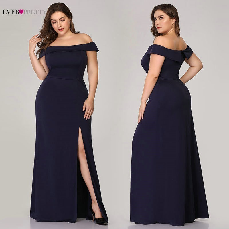 Plus Size Mermaid Prom Dresses Ever Pretty High Split Boat Neck Off the Shoulder Sexy Navy Blue Long Prom Dresses for Party 2019