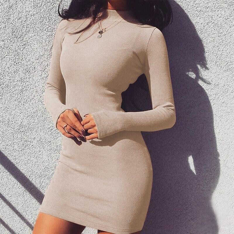 Spring Autumn Women Solid Slim Long Sleeve Mini Dresses Sexy Club Turtleneck Bodycon Female Dress