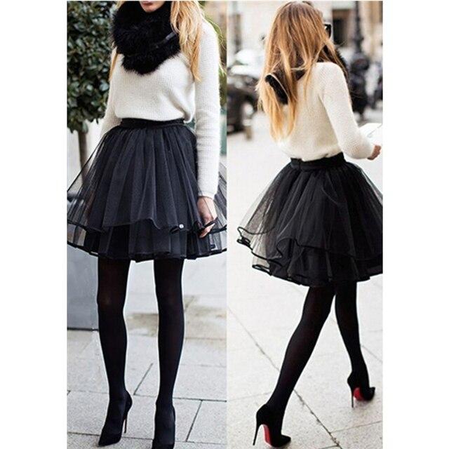 7fd19c901a8 New Fashion yarn Mesh Black Skirt Women Short Mini Skirt Plain Pleated  Tiered Ribbon Lining Party Tulle Chiffon Tutu Mini Skirt