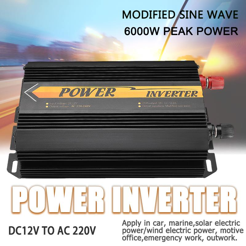 Inverter 12V 220V 6000W Peaks Auto Modified Sine Wave Voltage Transformer Power Inverter Converter Car Charge USB 3000WInverter 12V 220V 6000W Peaks Auto Modified Sine Wave Voltage Transformer Power Inverter Converter Car Charge USB 3000W