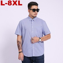 8xl 7xl 6xl 5xl 4xl Summer Men plus Size Shirt Formal Plus Big Wedding Plaid Short Sleeve Sale Business Shirts