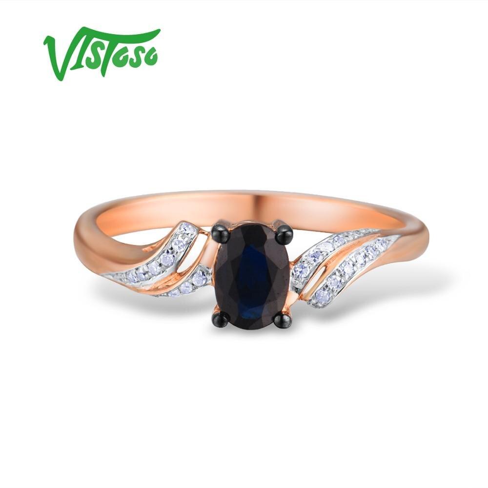VISTOSO แหวนทองแท้ 14K 585 Rose Gold แหวนเพชรไพลินอินเทรนด์ Fine เครื่องประดับ-ใน ห่วง จาก อัญมณีและเครื่องประดับ บน   2