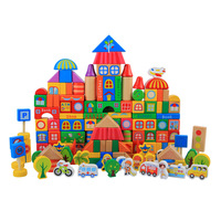 Healthy wooden toy City building blocks Ludo & city map with Traffic sign people plants shaps DIY create 3 6s children toy gift