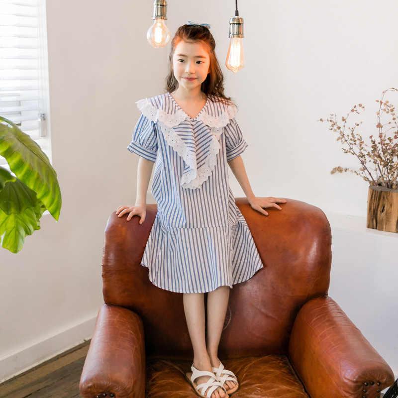 Длинное платье из шифона в синюю полоску для девочек 6-16 лет, летняя одежда для девочек-подростков, повседневное свободное платье, школьные платья с оборками для девочек