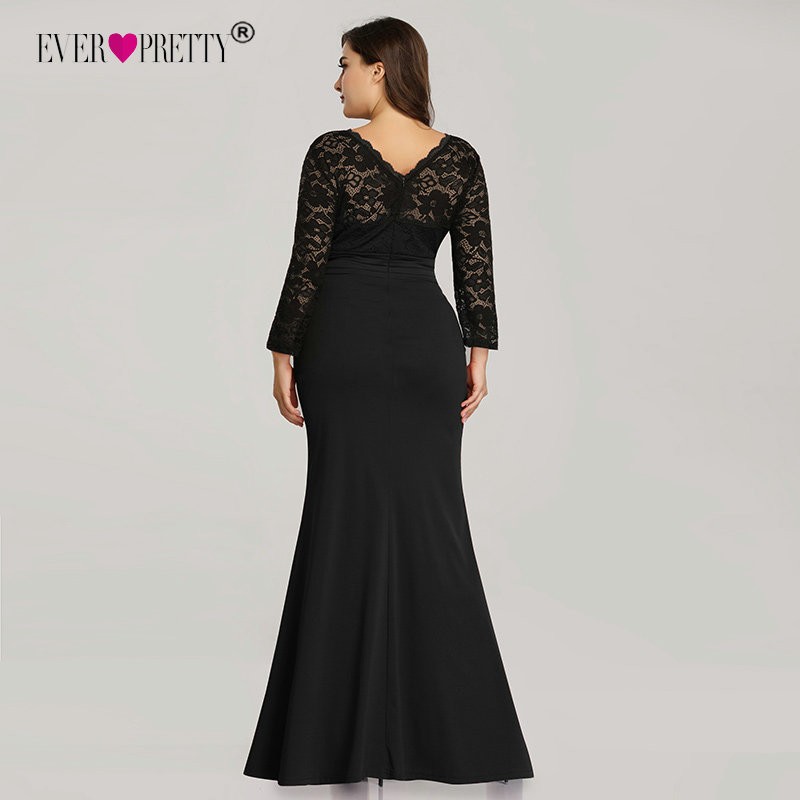 Image 3 - Ever Pretty Evening Dresses Long 2019 Black Mermaid Long Sleeve Lace Winter Autumn Satin Elegant Long Party Gowns for Wedding-in Evening Dresses from Weddings & Events