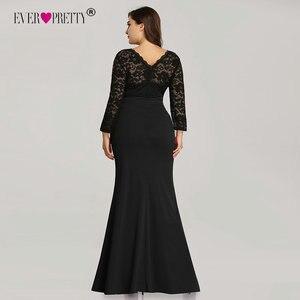 Image 3 - Kiedykolwiek ładne suknie wieczorowe długie 2020 czarna syrenka z długim rękawem koronkowa zimowa jesień satynowa elegancka, długa sukienki na przyjęcie na ślub