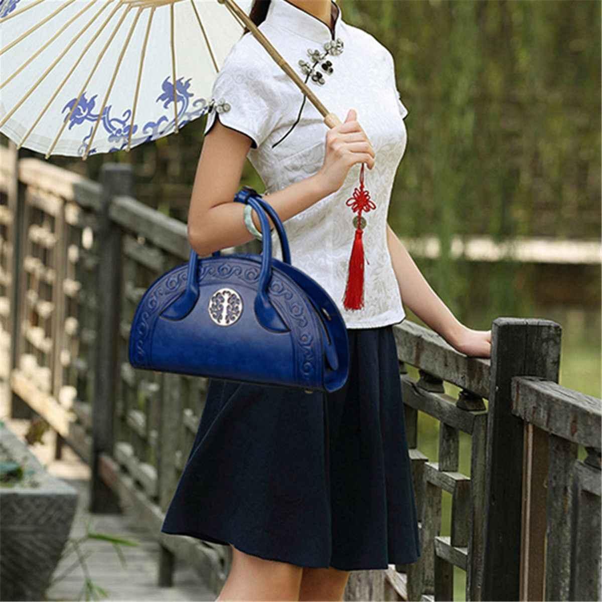 2019 chiński styl czerwony zielony kobiety luksusowa torebka markowa skóra ekologiczna tłoczona Crossbody Tote Vintage torba sac a main