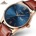 Aesop простые часы Мужские автоматические механические минималистичные тонкие черные наручные часы кожаные мужские часы Relogio Masculino 1001g