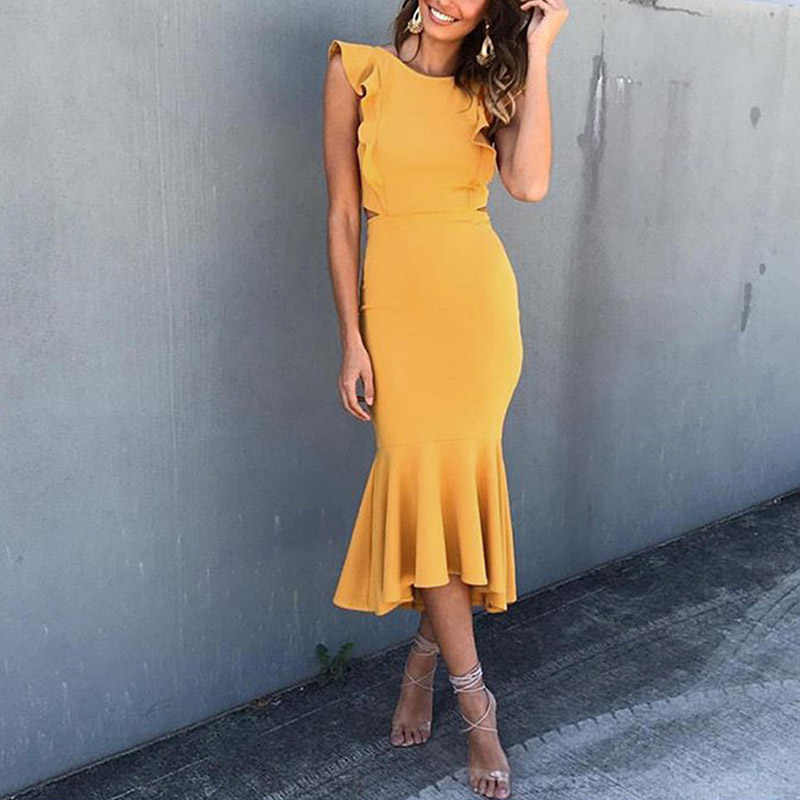 new classy Women Ladies Solid Color dress Sexy Sleeveless ruffle Casual    formal Cocktail Party chic ab0865311b77