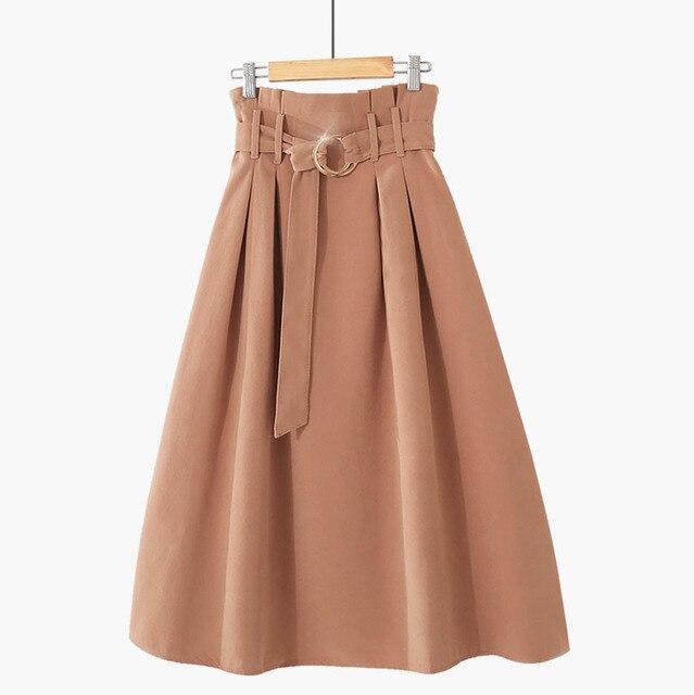 PEONFLY  Elegant Midi Long Skirts Women 2019 Autumn Winter Korean Suede Velvet Skirt Female A-line High Waist Pleated Blue Skirt 1