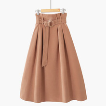 PEONFLY  Elegant Midi Long Skirts Women 2019 Autumn Winter Korean Suede Velvet Skirt Female A line High Waist Pleated Blue Skirt