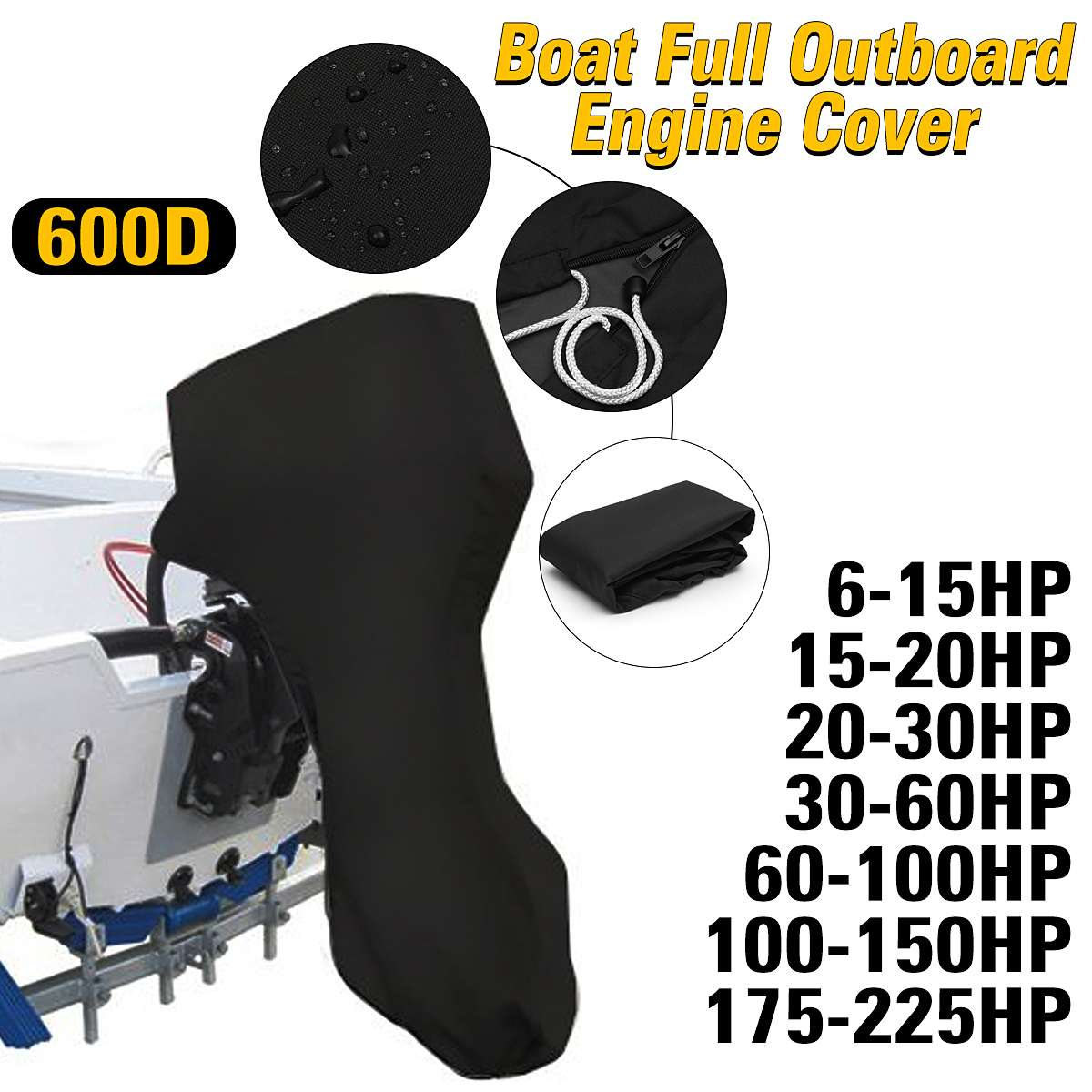 600D 6-225HP Boat Full Motor Cover Outboard Engine Protector for 6-225HP Boat Motors Black Waterproof image