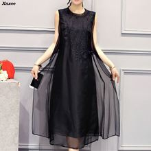 Women Vintage Elegant Dress Good Quality O-neck Mid-Calf vestidos Casual Sleeveless Loose Dresses Plus Size S-5XL Xnxee