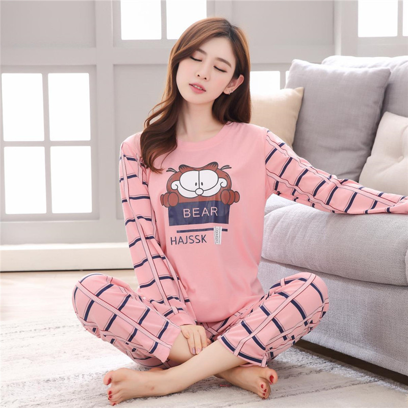 2019 Women   Pajamas     Set   Thin Cartoon Printed Long Sleeve Sleepwear Spring Autumn Cute Casual Homewear Female Pyjamas