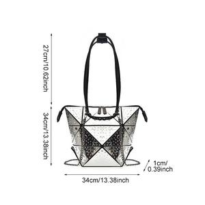 Image 2 - Luxury Female Designer Luminous Deformation Folding Diamond Handbags Geometric Rhombic Fashion Shoulder Bag Women Crossbody Tote