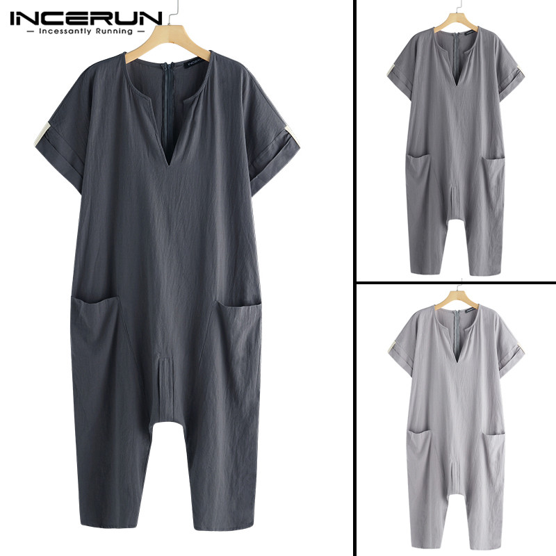13097e52e9e Detail Feedback Questions about Ethnic Islamic Rompers Mens Jumpers Fashion  Jumpsuits V Neck Muslim Islamic Kaftan Overalls Working Pockets Trouser ...