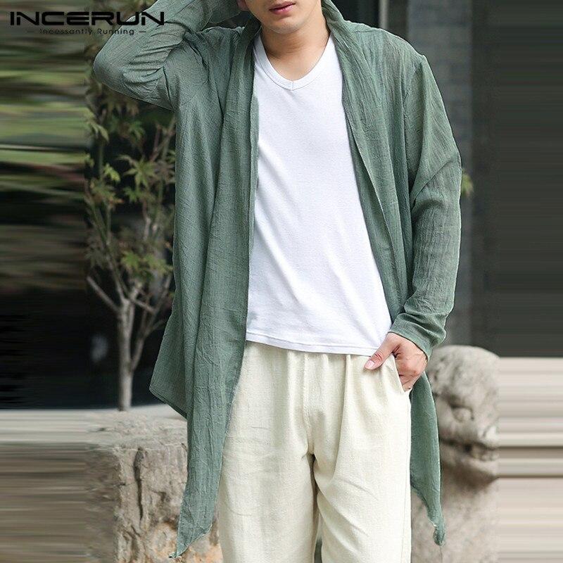 Brand Cardigan Mens Long Jackets Outwear Long Sleeve Irregular Hem Retro Casual   Trench   Windbreaker Hombre Tops Male Cloak Coats