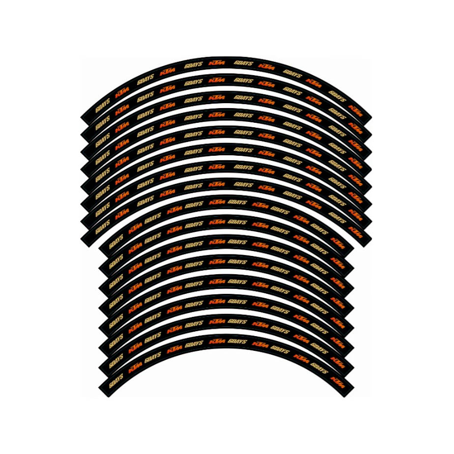 KUNGFU GRAPHICS Motorcycle Wheel Decal Tape Protector Vinyl Sticker Set 6DAYS Tire 21''-18'' for KTM Dirt Bike Motocross Racing