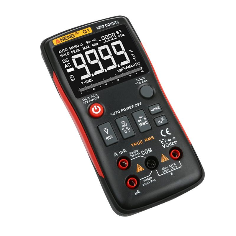 ANENG Q1 Digital Multimeter Button 9999 Counts With Analog Bar Graph AC/DC Voltage Ammeter Overload Protection With Probe