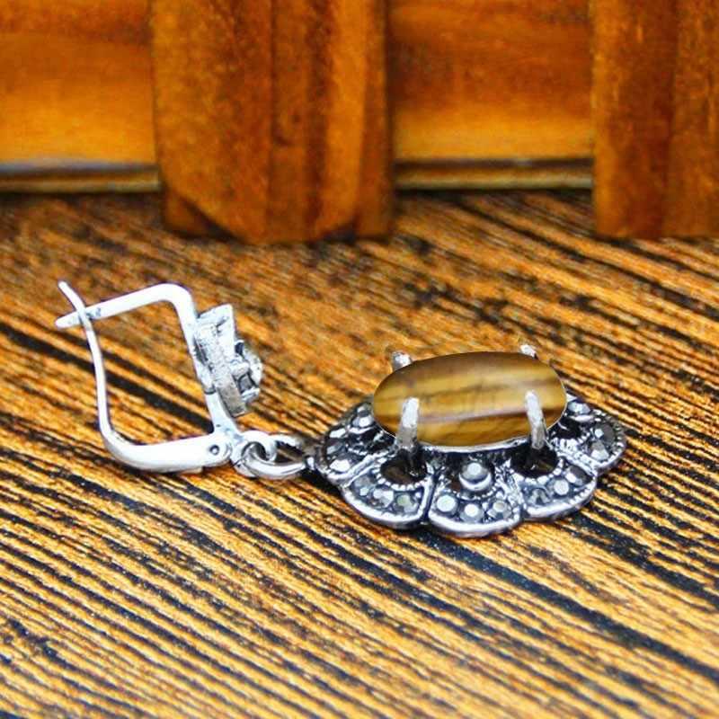 שזיף פרח תליון טבעי טייגר עין שרשרת עגילי תכשיטי סט ריינסטון בציר תכשיטים לנשים TS403