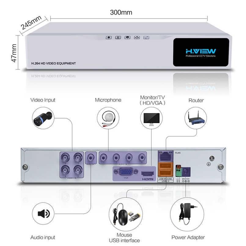 H. VIEW AHD DVR 8ch 4ch рекордер наблюдения 1 ТБ HDD AHD DVR 8ch 4ch рекордер наблюдения для аналоговой TVI CVI IP камеры