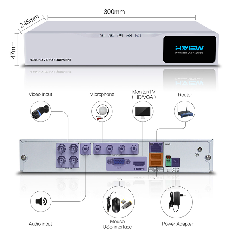 Image 3 - H.VIEW AHD DVR 8ch 4ch Recorder Surveillance 1TB HDD AHD DVR 8ch 4ch Recorder Surveillance for Analog TVI CVI IP Camera-in Surveillance Video Recorder from Security & Protection