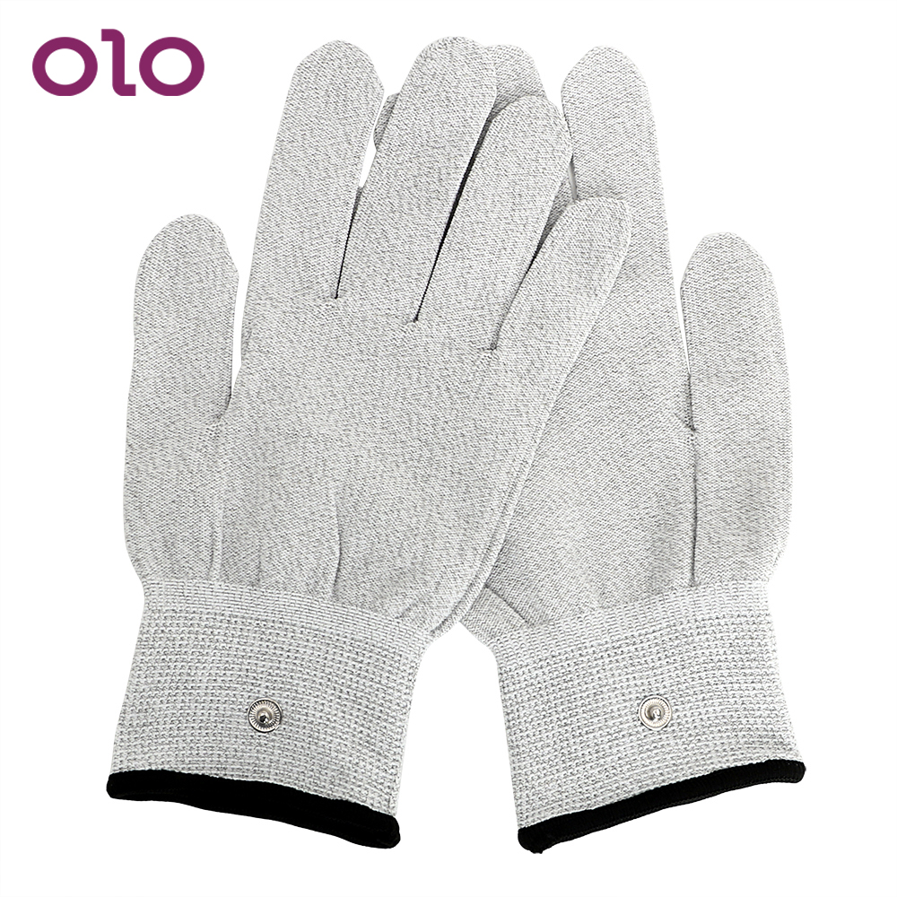OLO Electric Shock <font><b>Gloves</b></font> Conductive Massage Medical Themed Toys Masturbation <font><b>Electro</b></font> Stimulation <font><b>Sex</b></font> Toys for Men Women image