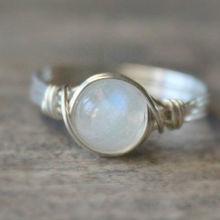 925 Silver Antique Women Moonstone Wedding Engagement Ring J