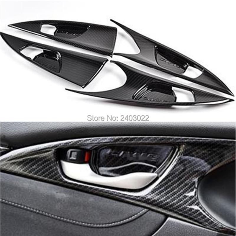 Moulures intérieures en Fiber de carbone poignée de porte intérieure garniture de couvercle de panneau de bol pour Honda Civic 10th 2016 2017 LHD