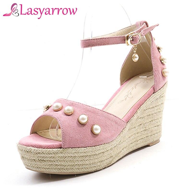 Black Fashion Ankle Wedges Women High Lasyarrow 2019 Shoes Sandals Summer  Beading Strap pink Casual Platform Ladies ... ea0241e3cc41