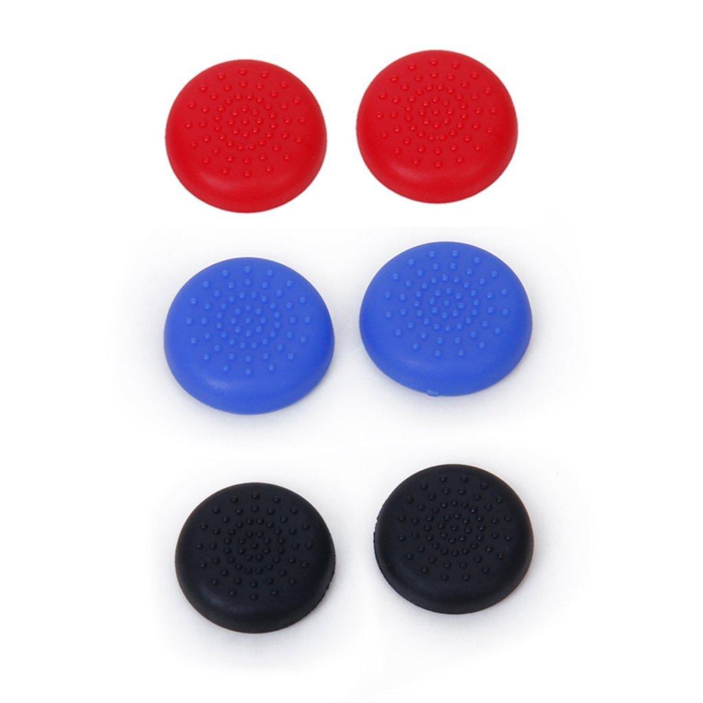 3 Pairs Joystick Thumbstick cap for  Plastic  4 PS4 Controller - Black + Blue + Red3 Pairs Joystick Thumbstick cap for  Plastic  4 PS4 Controller - Black + Blue + Red