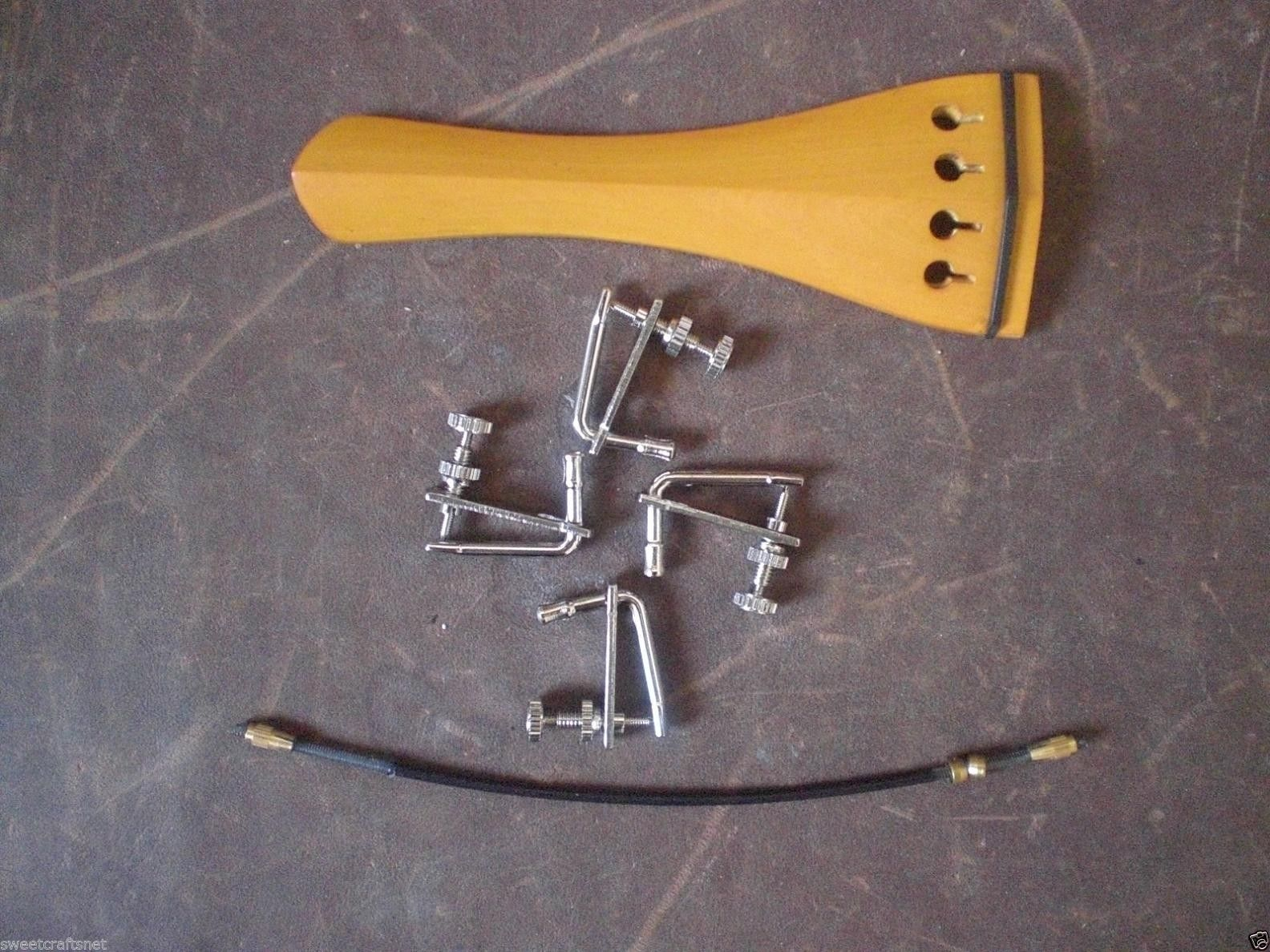 1 PC Boxwood Violin Tail Piece With Fine Tuners And Tail Gut(Silver Color 02#)