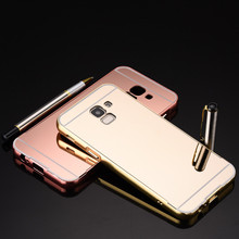 Luxury Rose Gold Mirror Cases For Samsung Galaxy J8 2018 Alumimum Metal Frame Shell Back Cover For Samsung J8 2018 J82018 все цены
