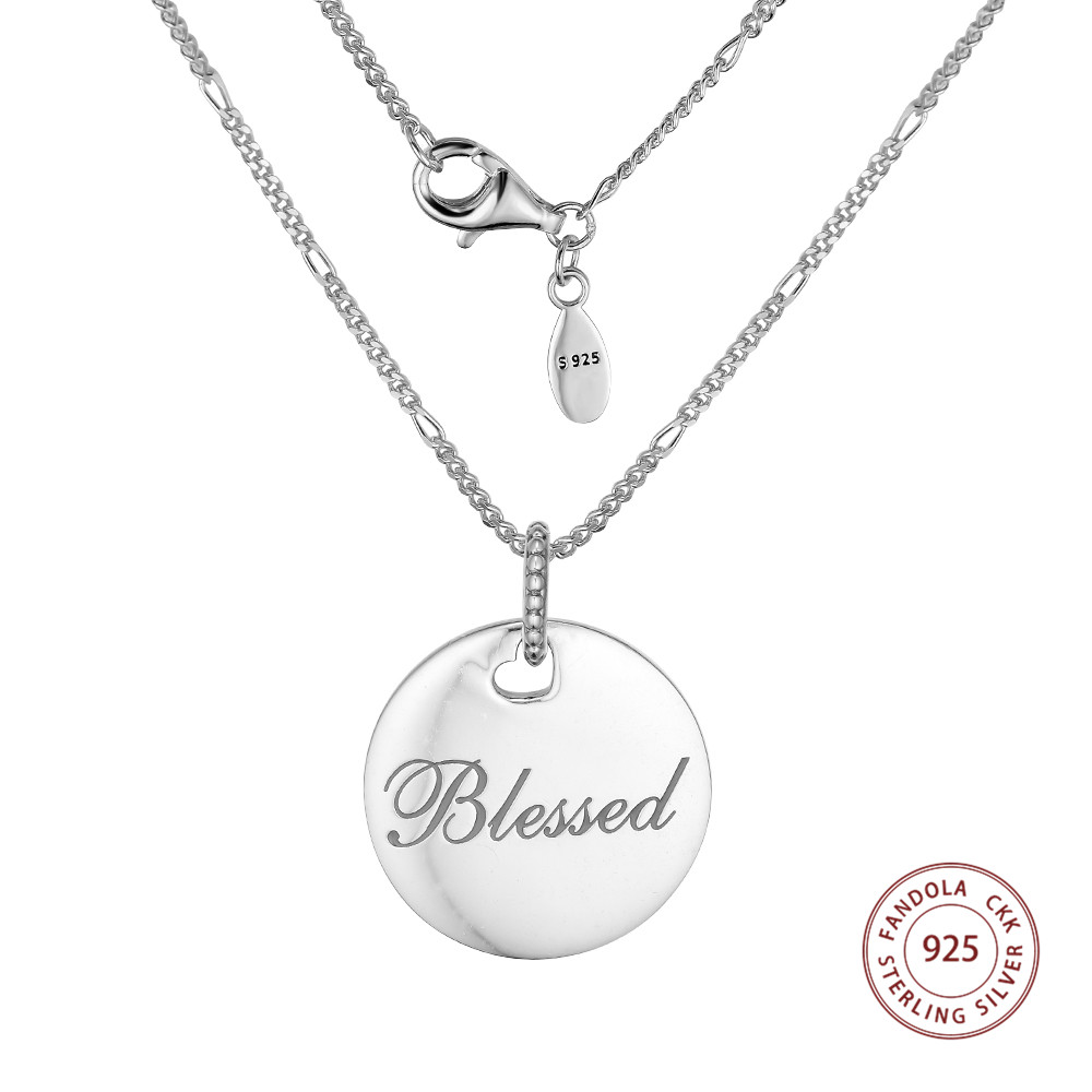 100% 925 Sterling Silver Blessed Disc Pendant Necklaces for Women Sterling Silver Jewelry Link Chain Necklace Original Jewelry