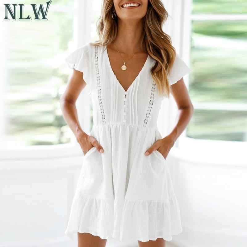 NLW белое пляжное Для женщин летнее платье 2019 кружева выдалбливают вечерние короткое платье; на элегантных кнопках карманный мини платье Vestidos