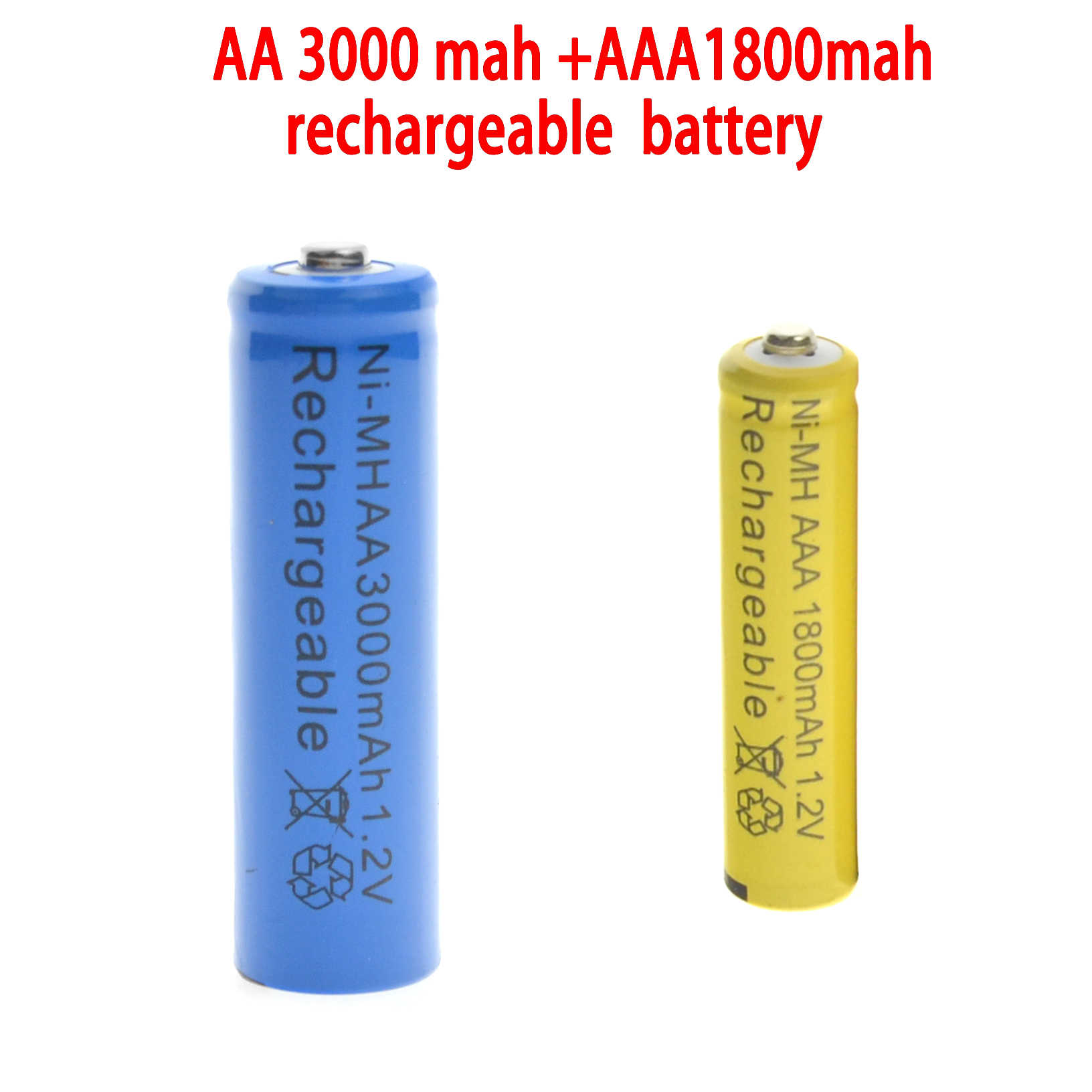 1-24 шт синий АА 3000 mAh + 1-24 шт желтый AAA 1800 mAh NiMH аккумуляторная батарея RC MP3 часы