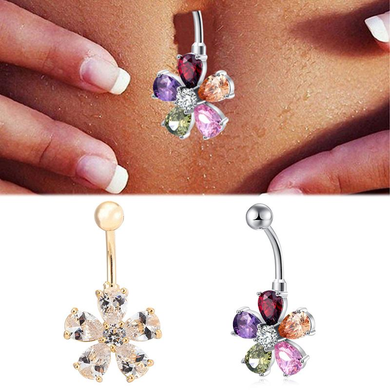 European and American Style Petals Shaped Navel Bell Botton Rings Navel Nails Body Jewelry