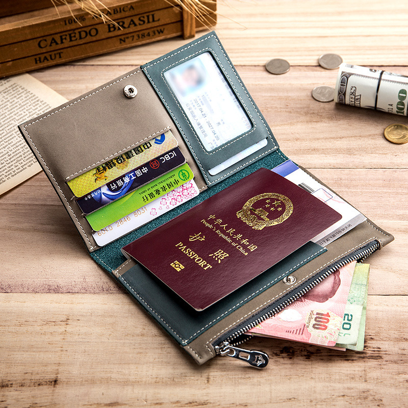 Genuine Real Leather Passport Travel Money Wallet Credit Card Case Coin Zipper Ultra Thin Cow Skin Good Quality Men Male HolderCard & ID Holders   -