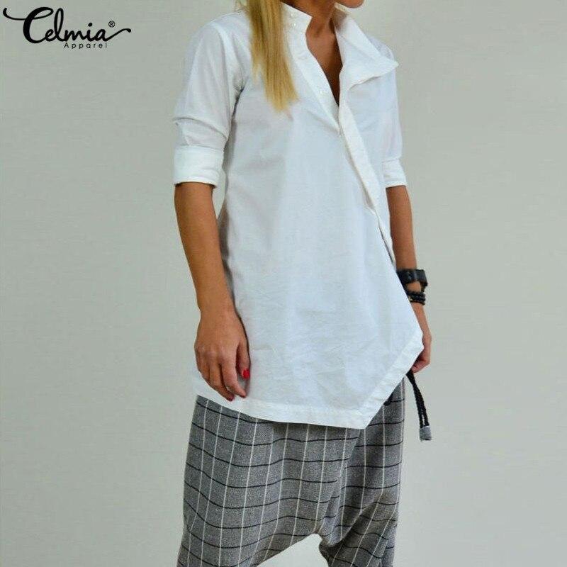656c06f07273ba6 Cellia 2019 Женская туника, пуговицы для рубашки, винтажная льняная блузка,  асимметричные топы с длинными рукавами, однотонные свободные блузки, .