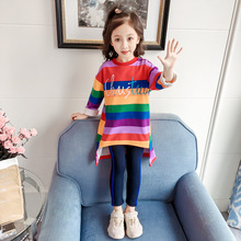 Children's Clothing 2019 new spring and autumn girls dress plus velvet printed letters rainbow baby clothes