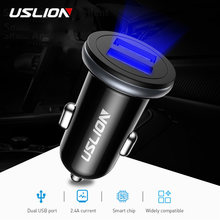 USLION Max 2.1A Dual USB Car Charger Adapter Universal Fast Charging Auto Charger For Smartphone Tablet Car Mobile Phone Charger(China)