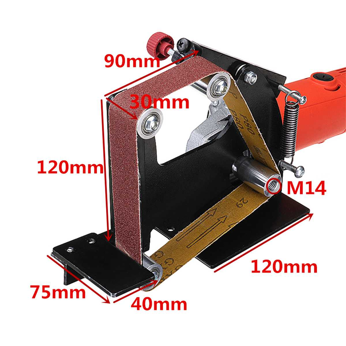 Angle Grinder Belt Sander Attachment Metal Wood Sanding Belt With M14 Spindle For 115/125/150 Grinder