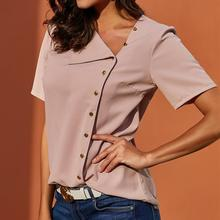 Chiffon Blouse 2019 Fashion Shorts Sleeve Women Blouses and Tops Skew Collar Solid Office Shirt Casual Tops Blusas Chemise Femme 2019 hot sale spring women shirts tops long sleeve bow collar solid ladies chiffon blouse tops ol office style chemise femme