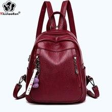 Купить с кэшбэком Cute Rabbit Tassel Female Backpack Brand Leather Women Backpack Zipper Casual Travel Bags Simple Shoulder Bags for Women Mochila