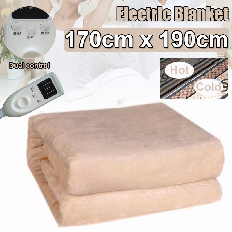2-in-1 Flannel Electric Blanket 170*190cm Thicker Heater Timing Control Warmer Heated Carpet Thermostat Heating Rapidly Safety