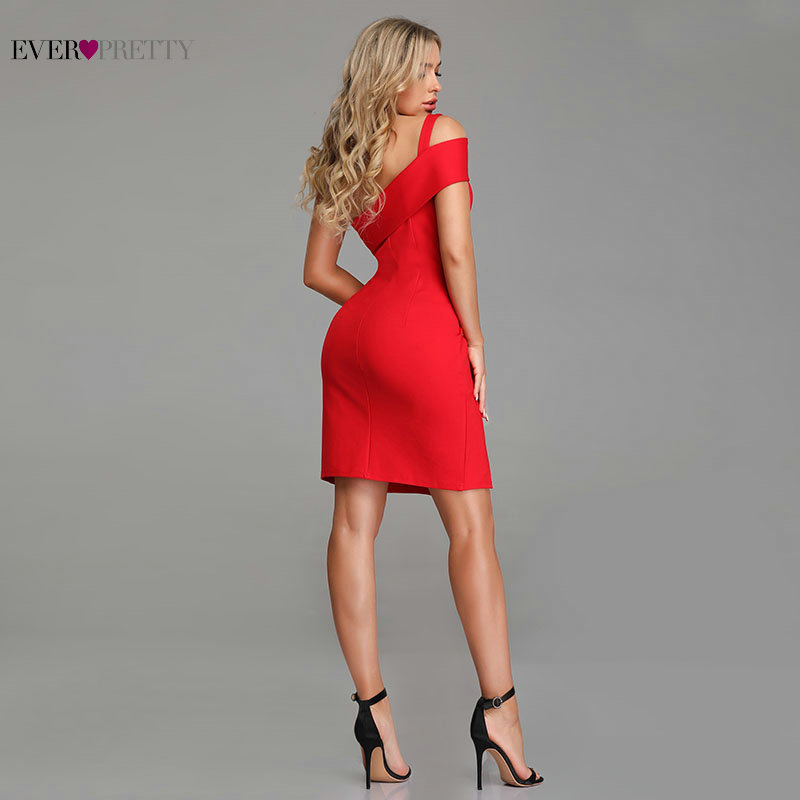 Red Cocktail Dresses Ever Pretty Sexy Little Mermaid Leg Slit Short Party Gowns 2019 New Arrival Backless Formal Dresses