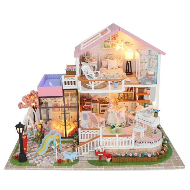 Children DIY Doll House Kids Wooden Miniature Dollhouse Baby Handmade Assembly Model House Toy Furniture Dollhouse Birthday Gift