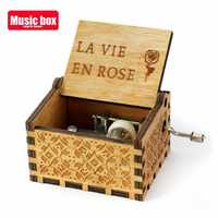Manivela de mano La vida En Rose caja de música de madera Juego de tronos Star Wars Eres mi sol Luna río Regalo de Cumpleaños de Navidad